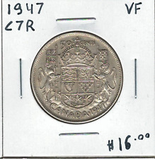 Canada 1947 Silver 50 Cents Curved 7 Right VF