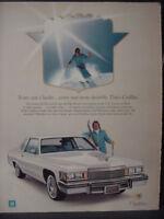 1979 Cadillac coupe DeVille Car Skier Ski Alpine Downhill Vintage Print Ad 12922