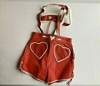 Red & White Leather  Girl Childens Lederhosen October Fest