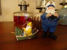 2 Sea Fishing Santa Sailor Fisherman Boat Binocular Ceramic Christmas Ornaments