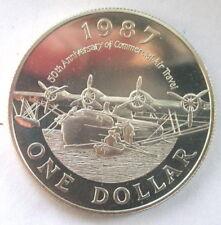 Bermuda 1987 $1 Amphibious Plane Large Silver BU- Mtg=4000