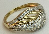 Vintage Original Yellow Gold 585 14K Ring With Cubic Zirconia, Yellow Ring 585
