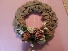 "BURLAP WREATH -  Handmade w. Creme & brown Roses & blossoms - 16"" total diameter"
