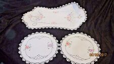 Vintage Hand Embroidered Floral Table Doilies Set of 3