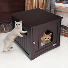 Wooden Side Table Pet Cat House Litter Box Enclosure Indoor Sidetable Nightstand