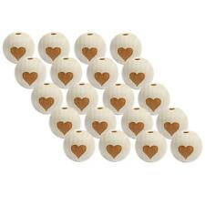 20x Heart Design Unfinished Wood Natural Round Wooden Beads Loose Beads 20mm