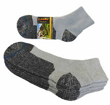 4 PAIR ANKLET PREMIUM QUALITY HEAVY SOCKS COTTON GRAY BLACK SOCKS