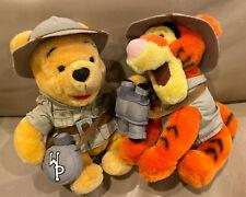 "Disney Parks 8"" Plush Winnie The Pooh & Tigger Safari Outfit Stuffed Animal Toy"