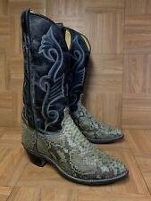 RARE🔥 TEXAS USA American Made SnakeSkin Rattlesnake Exotic Cowboy Boots Sz 9