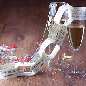 EAST OF INDIA Celebration Party Paper Chain - Time To Drink Champagne - 3 Metres