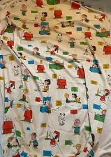 Vintage 1971 Snoopy Peanuts Bonheur Est Double Ajusté Feuille Fixer Crafts Tissu