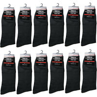 New 12 Pairs Mens All Black Dress Socks Fashion Work Casual Cotton Size 10-13