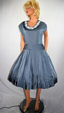 Vintage 50's Beaded Blue Satin Pleated Rockabilly Swing Bubble Dress Sz 12 to 14