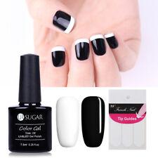 2 Bottles Black White Soak Off UV Gel Polish French Tip Guides Manicure UR SUGAR