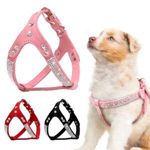 Soft Suede Leather Rhinestone Pet Dog Harness Puppy Cat Walking Collar Vest Pink