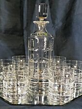 Crystal Glass Whiskey Set Decanter 23oz+6 Tumblers 8 oz Old Fashioned Bohemia