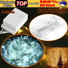 300-600 LED Fairy String Hanging Icicle Curtain Light Outdoor Xmas Party 3/6×3M