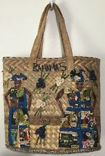 Bahamas Authentic Straw Purse Tote Bag Shopper Beige Hand Bag With Man Woman