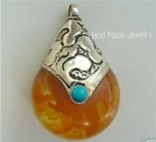 Big Tibetan Turquoise Sterling Silver Repousse Cap Beeswax Amber Pendant / Bead