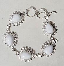 Sterling Silver Overlaid White Coral Link Bracelet