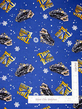 Polar Express Christmas Fabric - Train Locomotive Engines Blue CP59702 - Yard