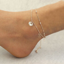 Gold Double Chain Anklet Bracelet Ankle Foot Jewelry Barefoot Beach Anklet