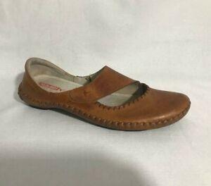 PIKOLINOS CUTOUT Women's Flat Comfort Shoes Brown Leather Slip on Sz US 9 /EU 40