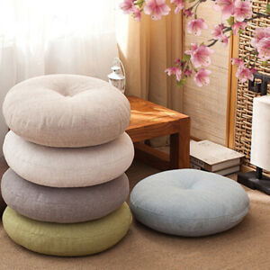 Japanese-style Round Linen Futon Cushion Floor Yoga Chair Seat Mat Tatami Pillow