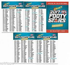 2017 Select Footy Stars  CHECK LISTS (5 Cards)