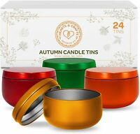 Hearts & Crafts Candle Tin Cans with Lids - 8-oz. Fall Tin Cans, 24-Pack
