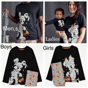 Halloween Matching Disney Mickey Minnie Mouse 'Glow in the Dark' Pyjamas Ladies