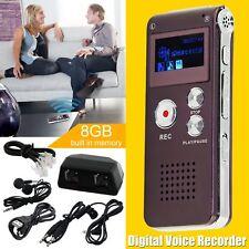 8GB Wiederaufladbare LCD Digital Sound Voice Recorder Diktiergerät MP3-Player DE