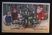 SANTA CLAUS~ with  Children~Tree~Vintage CHRISTMAS Postcard--b785