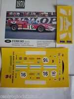 DECALS KIT 1/43 FERRARI 512S LE MANS 1970 scuderia FILIPPINETTI NEW