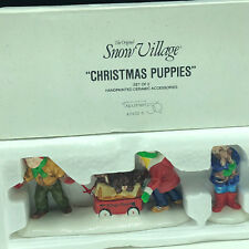 Department 56 Christmas Snow Village Collection figurines nib box Puppies 5432-1