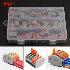 60X Reusable Terminal Block Lever Home Connector Wire 2/3/5 Pole Cable Clamp Nut