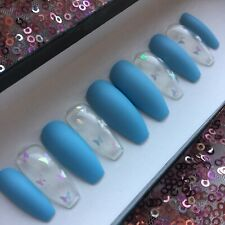 Hand Painted False Nails Coffin Matte Blue Clear Holo Butterflies Press On Nail