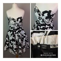TFNC dress Medium 8 Uk Strapless Black And White Skater Fit And Flare Party
