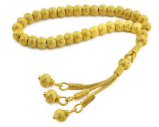 1000 Ct Silver Turkish Hand Knitted Islamic Gold Plated Prayer Beads Rosary