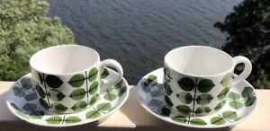 2 Sets STIG LINDBERG GUSTAVSBERG Teacup & Saucers BERSÅ / BERSA Porslin, 1960-70