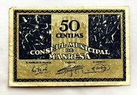 Spain-GUERRA CIVIL. Billete. 50 centimos 1937. Manresa. EBC/XF