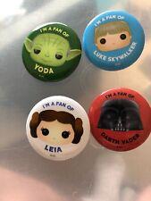 Star Wars Funko Button Badge Set Of 4 Scarce Comic Con