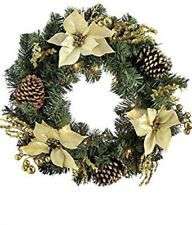 Christmas Pre-Lit Decorated Wreath Illuminated with 20 Cold White LED Lights,