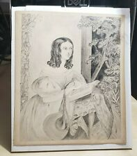 c1835 Early American Pencil Drawing Puffy Sleeve Primitive Folk Portrait NORES