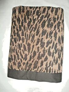 TAHARI ANIMAL PRINT BLACK TAN (1PC) LARGE BATH TOWEL/BATH SHEET 35 X 64