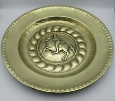 More details for very large vintage brass charger / wall plaque - knight