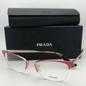 New PRADA Eyeglasses VPR 65Q PDN-1O1 51-17 140 Semi-Rimless Pink & Gold Frames