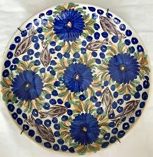 "Hand Painted 12"" Ceramic Pottery Plate Bowl Flowers & Fish Blue Green Wall Art"