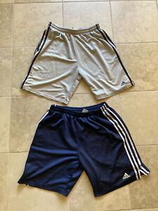Vintage 2000's Adidas Three Stripes Athletic Shorts Grey & Navy Blue