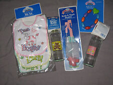 Baby Girl Glass Bottles Bibs Teether Beads Brush Teddy Bear Flowers Pink NEW!